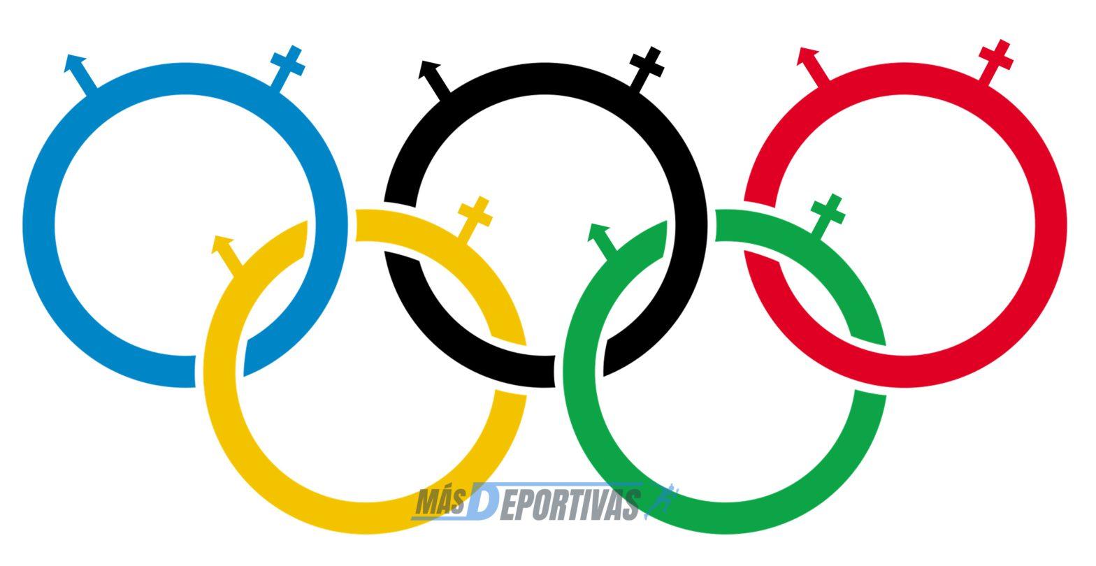 La igualdad de sexos. Anillos olímpicos con simbología de género