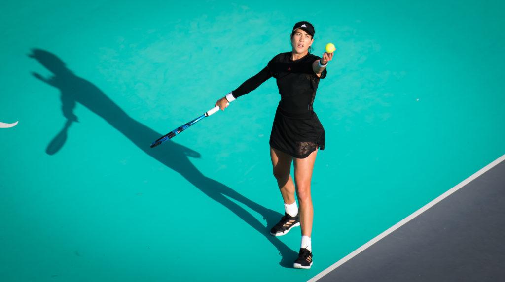 Garbiñe Muguruza en su partido de singles