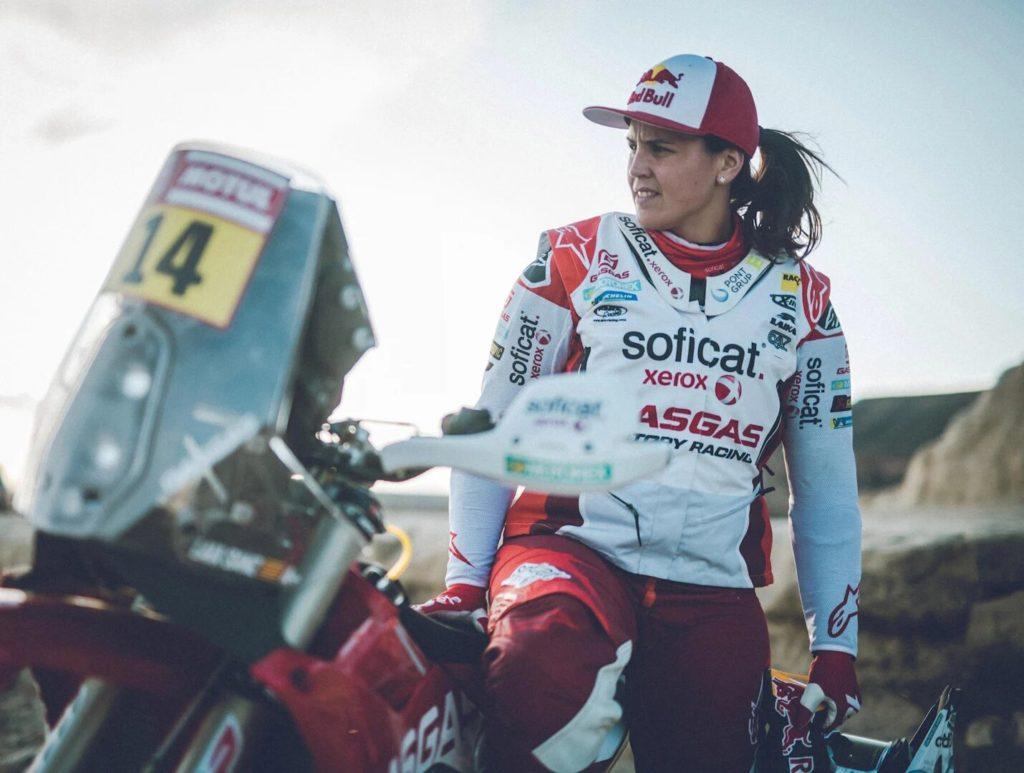 Laia Sanz durante la última edición del Dakar