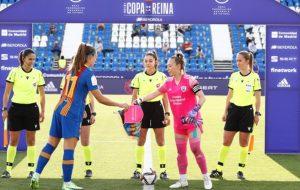 Barça y Madrid CFF durante la semifinal de la Copa de la Reina